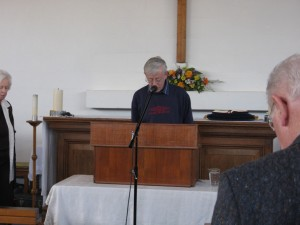 Peter Beardsmore giving the opening prayer