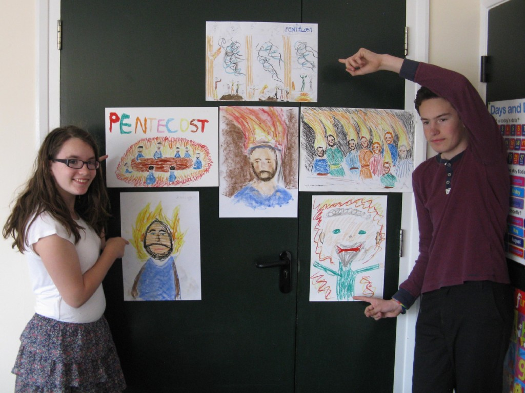 Young People Church with their Pentecost paintings