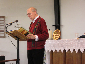 2015-02-28 George welcoming everyone to the Children's Service